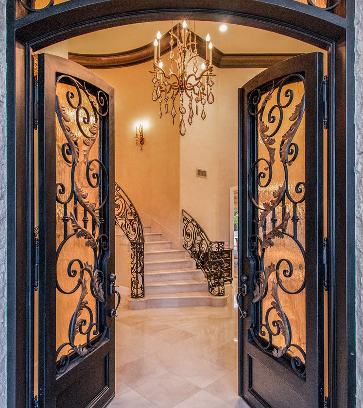 Beautiful Hand-Forged Wrought Iron Front Entry by Baltic Iron Doors